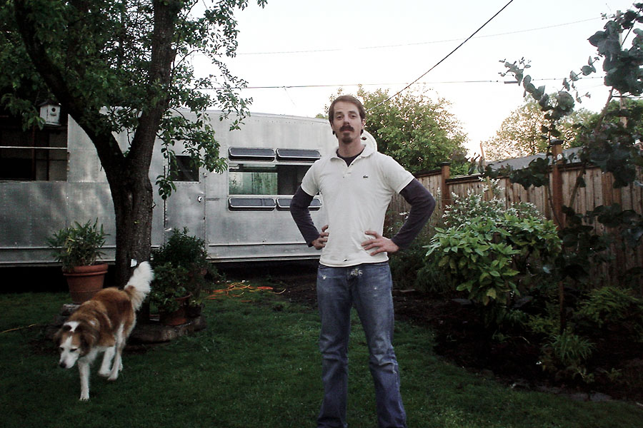 The writer with 1953 Spartanette, in backyard on Shaver St in Portland, OR.