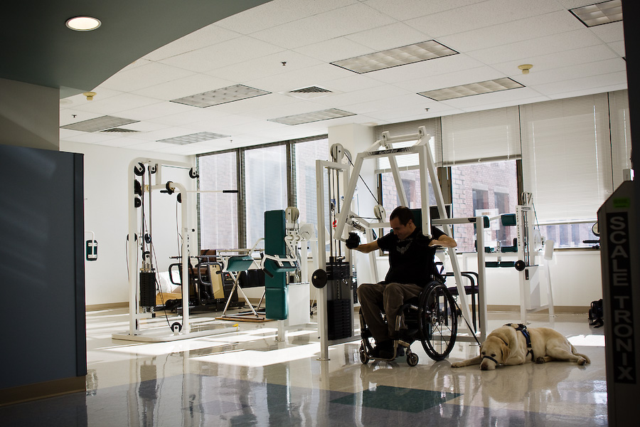 Max spent three months in the Good Samaritan Hospital recovering from his accident. Most of the equipment in the weight room is made to accomodate wheelchairs, and several days a week Max is one of the only people to use it.