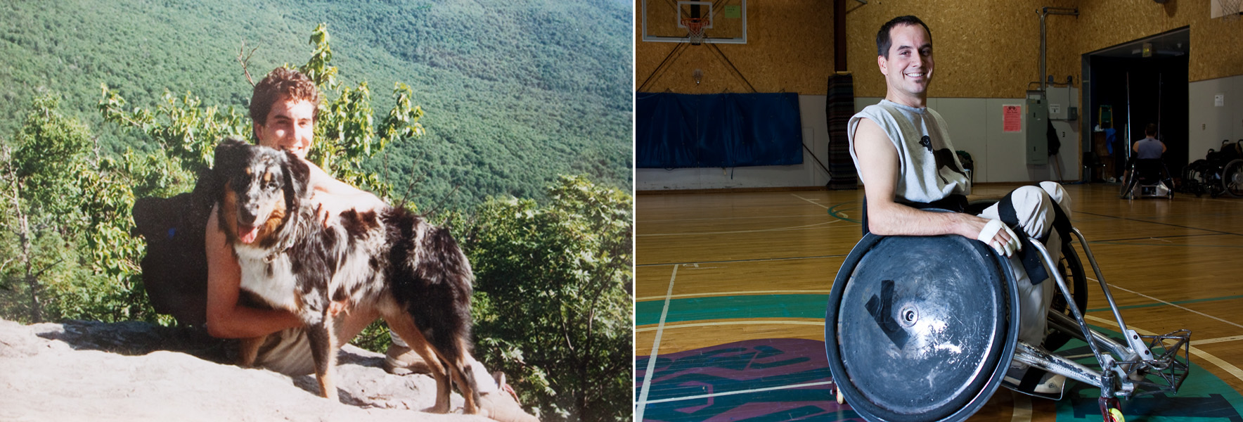 Max Woodbury, past and present. Left, Woodbury hiking in Vermont during his college years spent on the East Coast. One year after moving to Portland, OR in 1995 Max fell off of a scaffolding at work, breaking his neck and leaving him paralyzed.