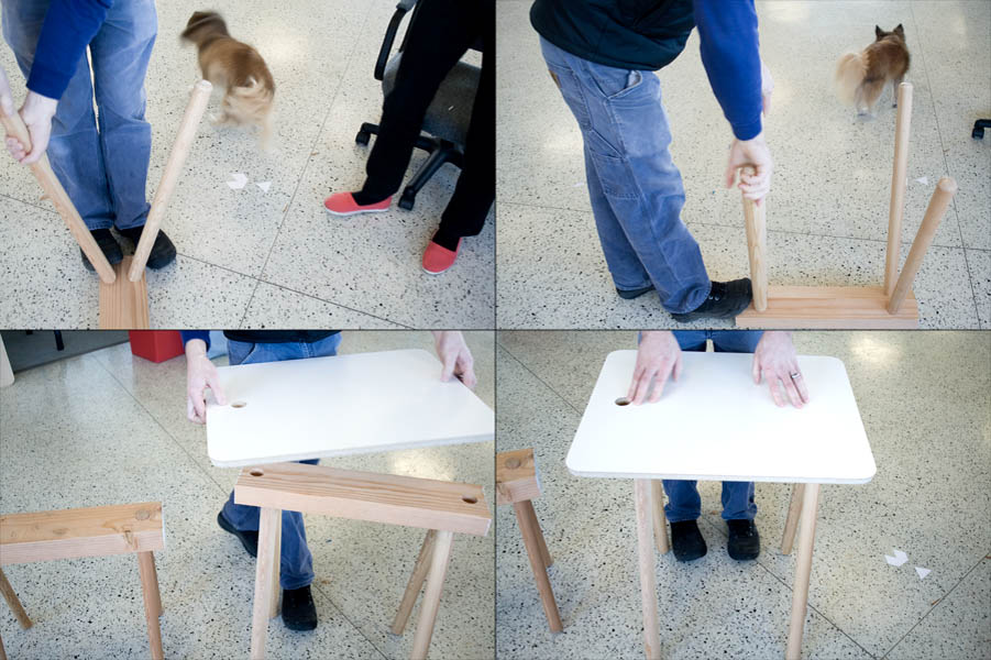 """John attaches simple dowel legs and a milled table top to the sawhorse type table the two have been developing lately. """"This table is really about reclaiming materials that were relegated as low quality and re-making them into something sleek and functional"""" - John"""
