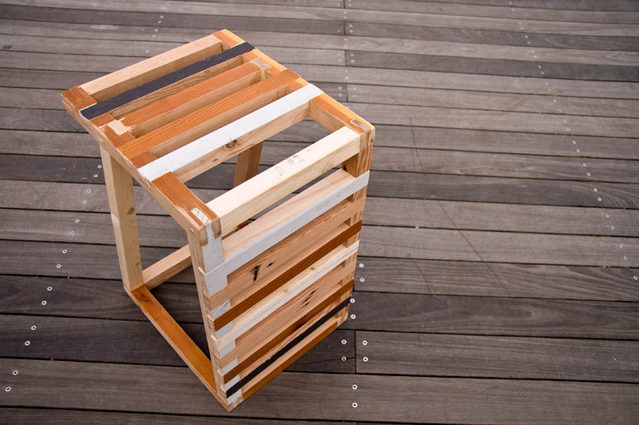 This stool, made entirely from reclaimed wood, has been one of Sean's major projects.