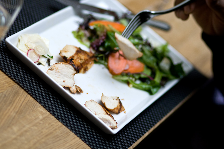 Afton Field chicken shows up on the table in a prim chicken salad at Urban Farmer Steakhouse.