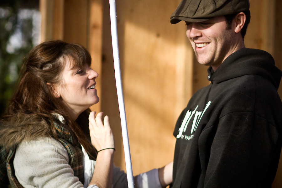Tyler and Alicia share a lighthearted moment in the midst of the final day of slaughtering on the farm. After the turkeys are cleaned, bagged, and sold they will be able to take a much needed winter holiday.