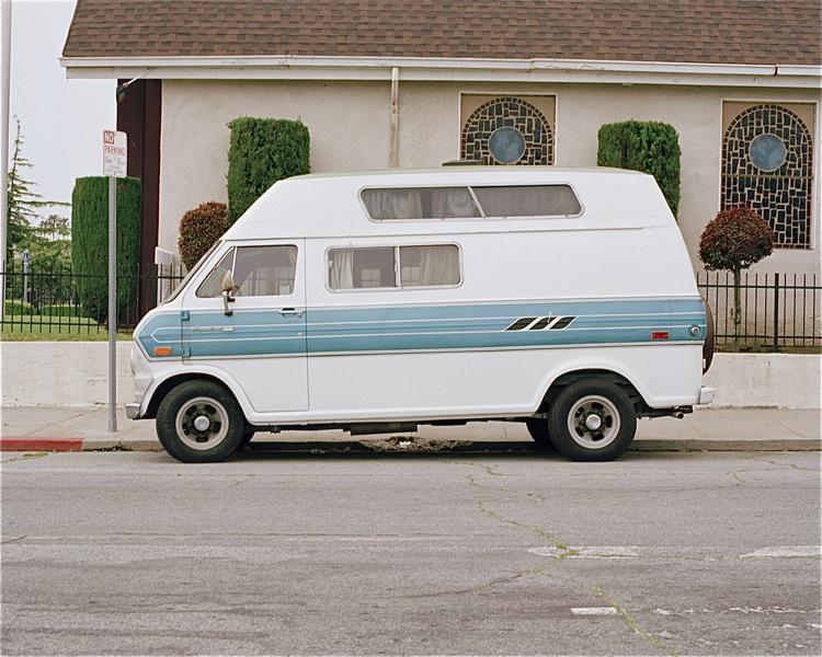 White Econoline with Blue Stripes Venice, CA Winter 2002
