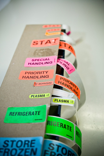 Labels used in the hematology lab.