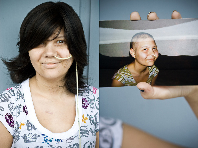 "Tanisha ::: (Left) ""When I have Angel Hair, people don't notice it's a wig. I feel like I have my hair back when I have it on."" (Right) ""I kept thinking that people would stare and I wouldn't look the same anymore."" Tanisha says that she was very attached to her hair before she started chemo."